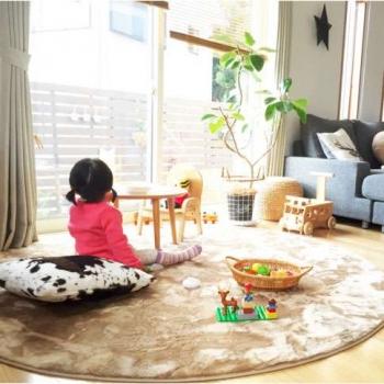 Детский круглый ковёр бежевый с ворсом
